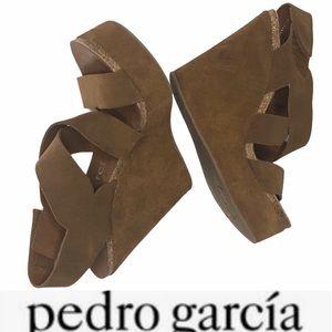 Pedro Garcia Trina Suede AnkleWrap CorkPlatform 37